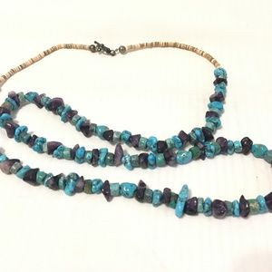 """Vintage 28"""" Long Turquoise Stone Bead Necklace"""